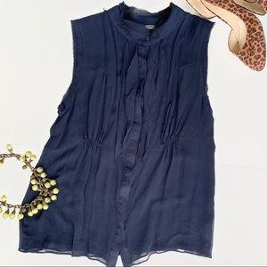 Vince Navy Silk Sleeveless Sheer Blouse Button Top